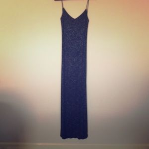 Full length navy glitter dress